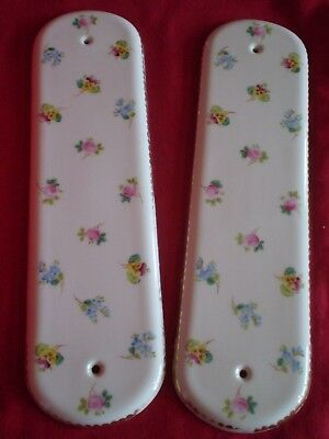 Vintage Pair Of Ceramic Floral Design Door Finger Plates