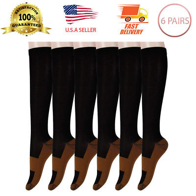 (6 Pairs) Copper Compression Socks 20-30mmHg Graduated Support Mens Womens S-XL