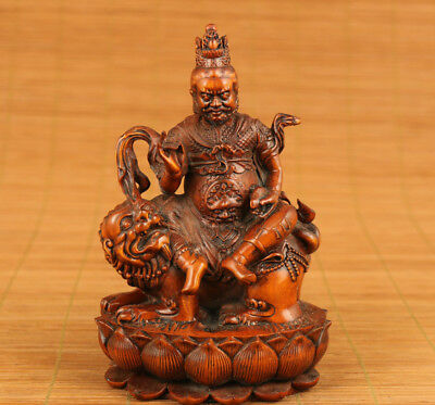 rare big hand Carved Boxwood prince of Dharma Buddha Statue Figure collectable