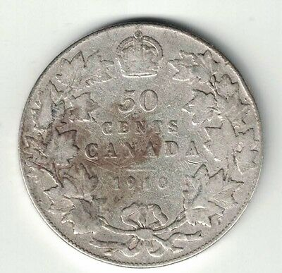 Canada 1910 50 Cent Victorian Leaves Half Dollar Edward Vii Sterling Silver Coin