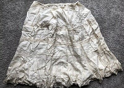 victorian Ornate Lace Trimmed Cream Silk Tiered Skirt/petticoat