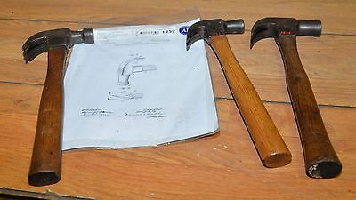 3 antique hammers Plumb Triple Claw patented 1905 two with notch collectible lot