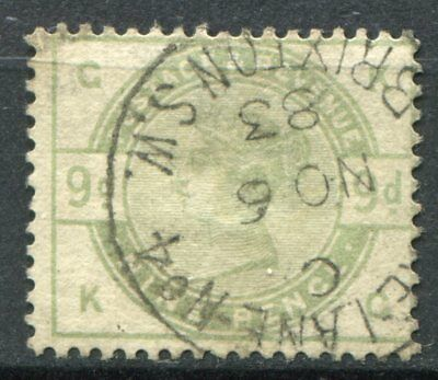 (315) VERY GOOD VERY LIGHTLY USED SG195 QV 9d DULL GREEN. CDS NO 6 1883