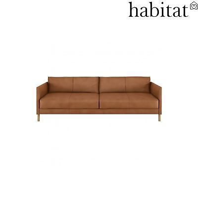 Fine Habitat Hyde 3 Seater Leather Sofa Bed Rancho Tan Oak Legs Caraccident5 Cool Chair Designs And Ideas Caraccident5Info