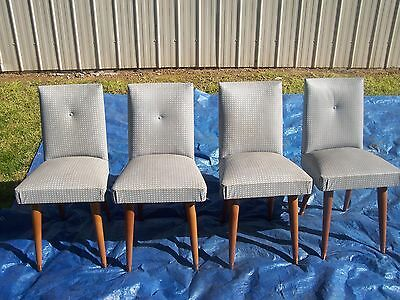 A Set of 4 Rare Parker Retro 50/60's Grey Chequered Vinyl Padded Dining Chairs