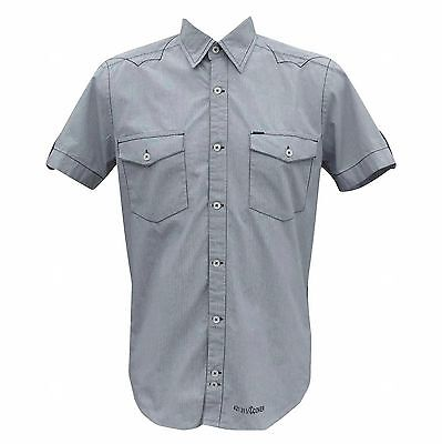 Duck and Cover Men's Wisdom Short Sleeve Fine Check Shirt Navy/White Small