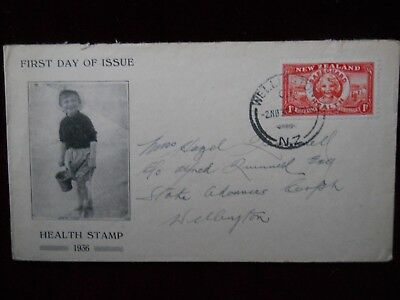 New Zealand, 1d Red Health Stamp, First Day of Issue Cover, 2nd Nov 1936