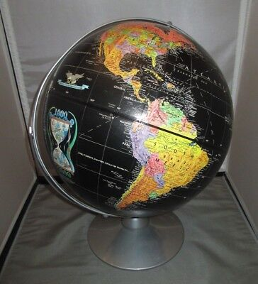 "Vintage Globe Replogle Starlight 12"" Classic Black Chrome base"