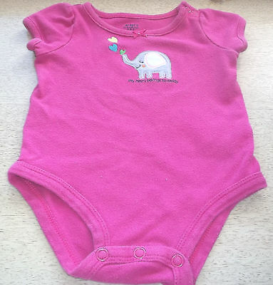 Carters Baby Girl Sz 3 Mo One-Piece Outfit Elephant Heart Belongs Daddy Cotton