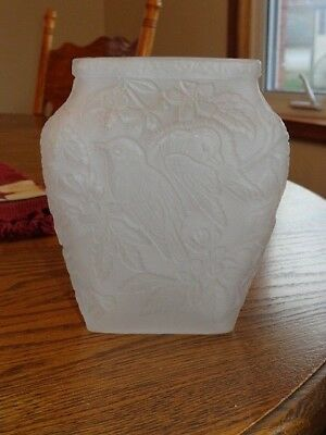 Consolidated Art Glass Frosted Satin Crystal Vase with Birds ~ CHICKADEE ~
