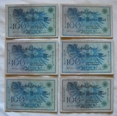 Lot with 60 x 100 Mark Money/Banknote from German Land 1908, in used Condition