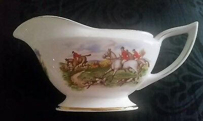 Vintage F R Gray Gravy Boat. Horse and hounds..
