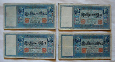 Lot with 37 x 100 Mark Money/Banknote from German Land 1910 in used Condition !!