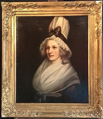 Fine Large 1830's French Oil Portrait Of Country Lady - Dramatic Hat -Gilt Frame