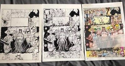 2000 AD MEGAZINE comic ORIGINAL ARTWORK  3 pages JUDGE DREDD by john hicklenton