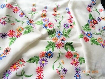 Vintage Hand Embroidered  TABLECLOTH  -  50x47""