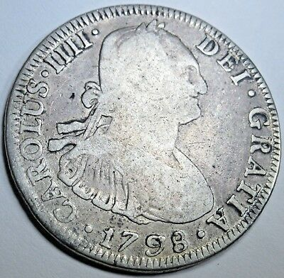 1798 PP Spanish Silver 4 Reales Piece of 8 Real US Colonial Pirate Treasure Coin