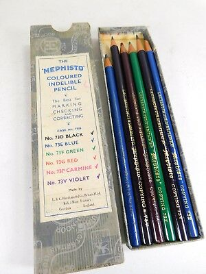 Vintage Boxed MEPHISTO Coloured Indelible Pencil Set