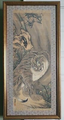 Antique Vintage Japanese Gold Framed Woodblock Print In the Tigers Eyes Signed