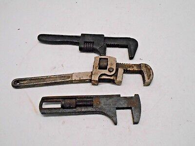 Lot Of 3 Adjustable Drop Forged Steel Monkey Pipe Wrenches Plumbers Hand Tools
