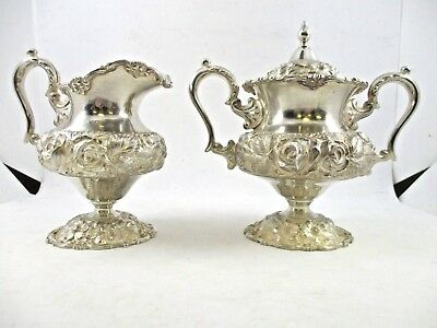 1947 Stieff Hand Chased Sterling Silver Creamer and Sugar Bowl Set No Monogram!