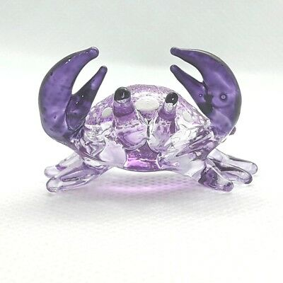 Miniature Blown Glass Animal Crab Figurine Hand Fish Marine Collectible Decor