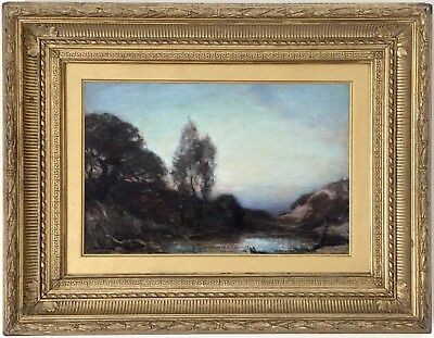 Landscape at Twilight Antique Oil Painting by Alfred Hitchens (1861-1942)