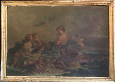 Very Large Early 1800's French Rococo Oil - The Triumph Of Amphitrite - Neptune