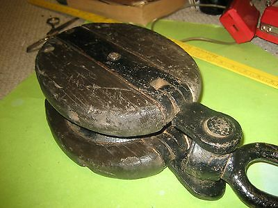 Giant Antique Wood/wooden Ship/boat Block & Tackle/pulley