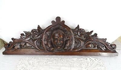 "25"" Antique French Hand Carved Wood Walnut  Pediment - Court Jester"