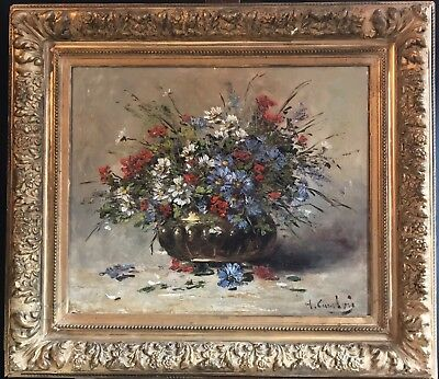 Eugene Henri Cauchois (1850-1911) Very Large Signed Oil - Bright Flowers In Bowl