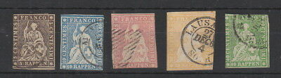 Switzerland 1854-1862 Strubels , 5 stamps