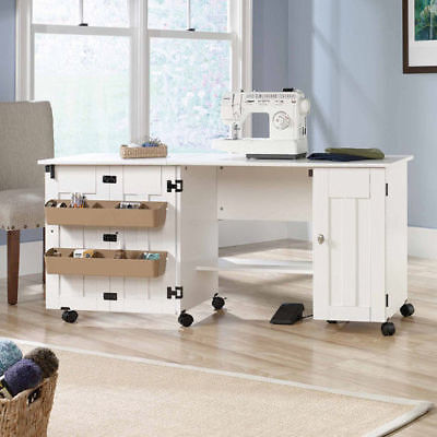 Sewing Machine Table Cabinet Craft Storage Desk Dresser Drop Leaf Bins White NEW