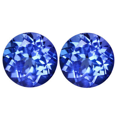 0.86Ct IF (2Pcs) Pair Sparkling Round Cut 5 x 5 mm Genuine AAA Blue Tanzanite