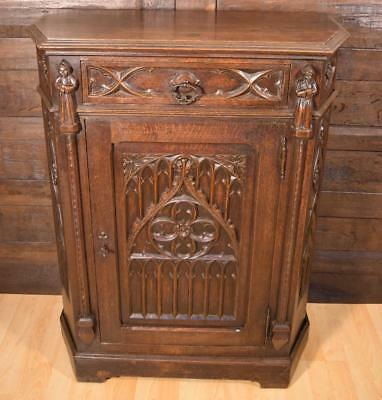 Antique French Gothic Revival Side/End Table/Cabinet/Stand/Console in Oak