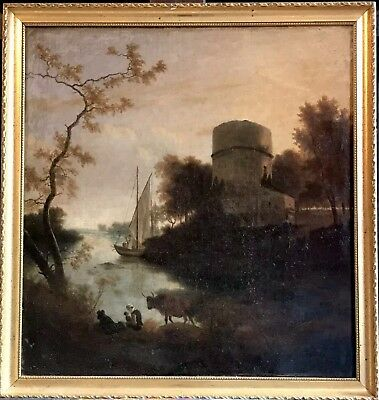 FINE 18th CENTURY DUTCH ROMANTIC OIL - SUNSET RIVER LANDSCAPE CATTLE & FIGURES