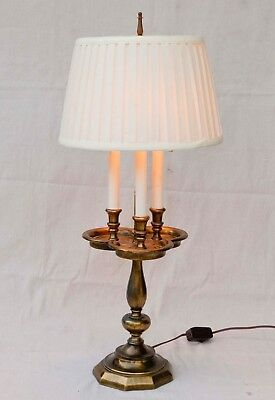 Vintage Hollywood Regency Solid triple candlestick Brass Bouillotte Table Lamp
