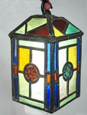VINTAGE LEADED STAINED GLASS LANTERN LAMP ceiling light chandelier vintage shade
