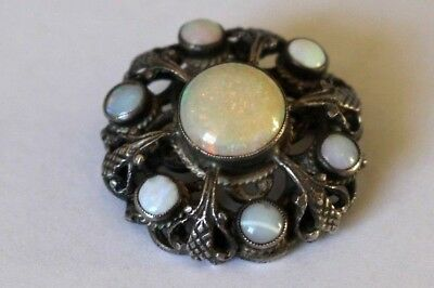 Vintage / Antique Austro Hungarian Style Silver Solid Opals Brooch / Pin.