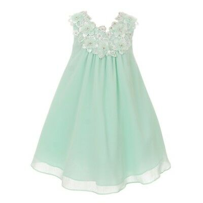 fa334a157877 Good Girl Little Girls Mint 3D Flowers Loose Special Occasion Dress 2-6