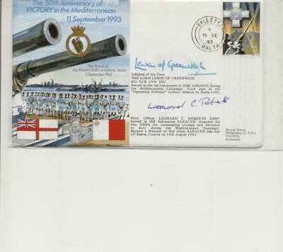 1993 Valletta Cancelled, Dual Signed Victory in Mediterranean Cover