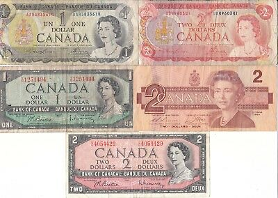 Canada Banknotes - A set of 5 x assorted Dollar notes QE2