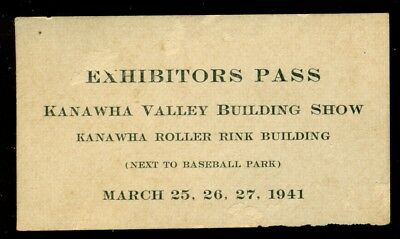 1941 Exhibitors Pass Kanawha City Charleston WV Kanawha Valley Show