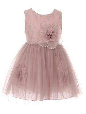 5b143d72ee4 Little Girls Rose Organza Floral Accent Lace Tulle Flower Girl Dress 2-6