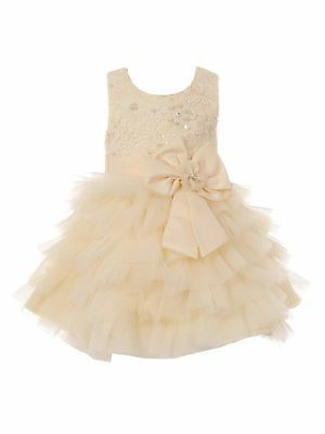 e7c4f2218f4 Baby Girls Champagne Sequin Pearl Tiered Ruffle Bow Flower Girl Dress 6-24M