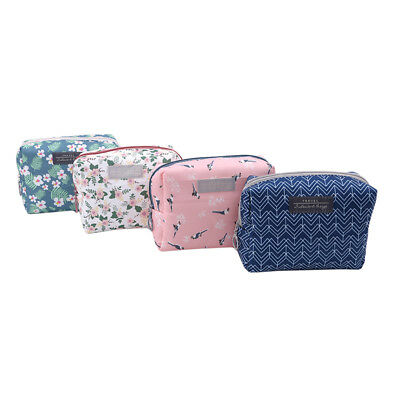 Solid Color Cosmetic Bag Makeup Case Organizer Travel Zip Waterpoof Womens D
