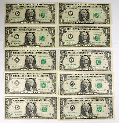 1963B $1 Federal Reserve BARR Notes - 10 Consecutive Serial Numbers