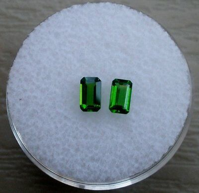 Green Chrome Diopside Emerald Loose Faceted Natural Gem Pair 5x3mm