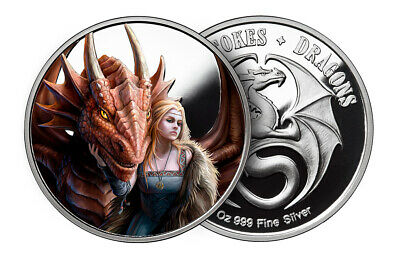 1 Oz Silver Coin Anne Stokes Dragons Colorized Friend Or Foe 1St In Series # Coa