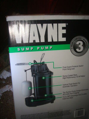 new Wayne SUMP PUMP Epoxy Coated Steel  1/3 HP 56137-WYN3